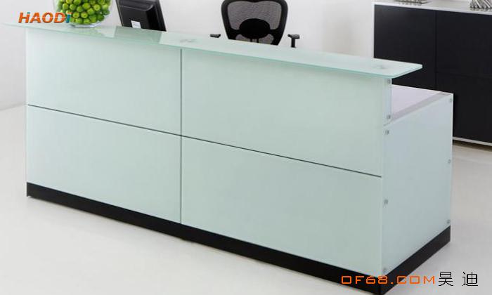 烤漆玻璃接待台上海办公家具厂家设计制作