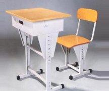 钢木结构高低可调学生课桌椅
