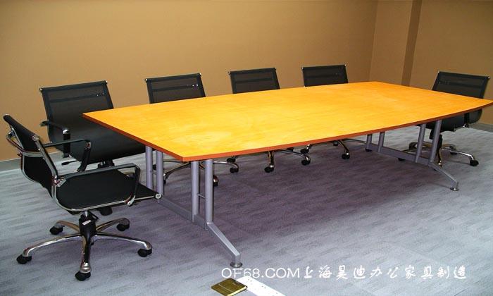 榉木色板式会议桌_上海办公家具