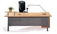 枫木色板式与钢脚结合办公台