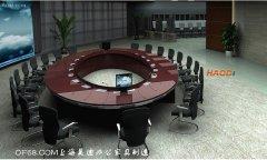 大型会议室圆形豪华实木会议桌