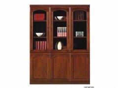 木皮贴面玻璃门实木书柜