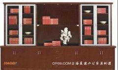 木皮贴面铝合金边框实木书柜
